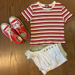 Brandy Melville Red/White Striped Crop Top